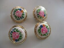 LOT OF 4 GOLD COLOR with FLOWER CENTER 1 INCH SHANK BUTTONS, NEW BUTTONS NEW