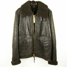 BURBERRY BRIT LAMBSKIN LEATHER AVIATOR JACKET SHEARLING LINED BROWN Sz M