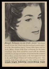 1960 Birgit Nilsson photo Irish High Fidelity recording tape vintage print ad