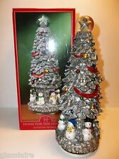 "Vintage Musical Rotating CHRISTMAS TREE SNOWMEN Water Globe Top 10.5"" MIB"