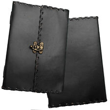"8"" Handmade Black Leather Diary Journal Sketchbook with Clasp & Handmade Paper"