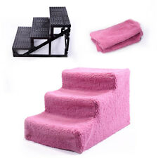 3 Steps Pet Stairs Climb Ladder Indoor Cat Dog Ramp W/ Cover Pink Climbing Toy