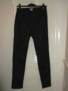 """BLACK LEATHER LOOK TROUSERS SIZE 12 LEG 30"""" FROM H & M"""