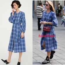 ZARA NEW BLUE CHECKED MIDI SHIRT DRESS WITH BELT SIZE M UK 10
