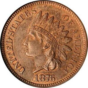 1876 Indian Cent MS62RB ANACS