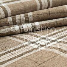 Light Brown Tartan Stripe Check Pattern Texture Weave Chenille Upholstery Fabric