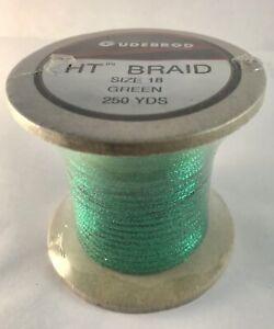"Vtg Spool Gudebrod HT Metallic Flat Braid Soutache Green 1/8"" Wide 250 Yards"