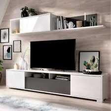 DEKIT Ken 180x200x41cm Mueble de TV - Blanco Brillo y Grafito