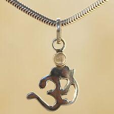 Colgante Calcedonia PLATA 925 OM colgante de Collar India Joya cabujón