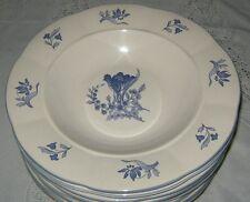 Rogers China Blue Bonnet Four Rimmed Soup Bowls Floral