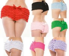 Burlesque Ruffle Knickers Panties 8-18 PLUS SIZE COQUETTE BLACK,BLUE,PINK,RED