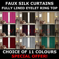 Modern Pair of Faux Silk Curtains with Tie Backs & Fully Lined Eyelet Ring Top