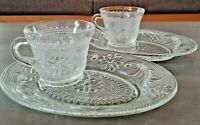 Vintage Tiara Chantilly Pattern Clear Glass Sandwich Snack Plate & Cup Set of 2