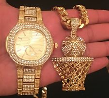 Brand New With Orignal Box Mens Gold Tone Watch&Cuban Chain&Basket Ball Pendant
