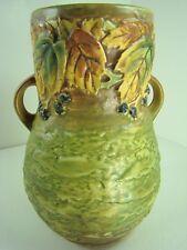 Roseville Art Pottery Ca 1932 Blackberry Mint Double Handled Tall Vase 575-8