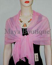 Silk Chiffon Wrap Shawl Scarf Hand Dyed Baby Pink Maya Matazaro