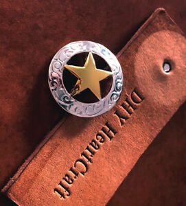 5PCS 29MM Western Gold Silver Plated Texas Star Saddles Rope Side CONCHOS  SET