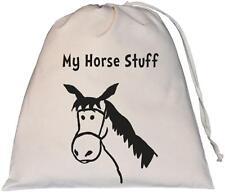 My Horse Stuff Design - Large Natural Cotton Drawstring Storage Bag Rider Stable