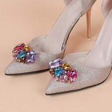 2er Pack DIY colorido pedrería zapato clips hebilla zapato joyas decoración para zapato de novia