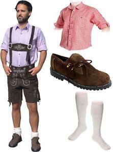 5-teiliges Trachtenset dunkelbraun * kurz B Trachtenlederhose Schuhe,Hemd,Socken