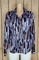 NY & CO Womens Size XL Long Sleeve Shirt Button Down Striped Print Poly Top