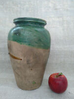 Antique Storage Crock Jar Green Glazed Stoneware Ceramic Pottery Food storage
