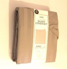 Primark Grey Lined King Size Duvet Cover Set with Pillow Cases