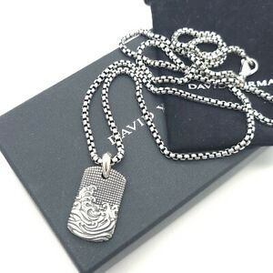 """David Yurman Sterling Silver Waves Dog Tag Amulet Pendant w/ 2.7mm 26"""" In Chain"""