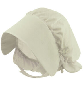 Girls Victorian Bonnet Hat White Servant Maid Fancy Dress Costume Headdress NEW