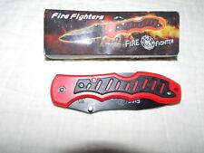 "Fire Fighter 4 1/2"" Folding Lockback W/Clip ThumbStud Black Ss Blade Red Handle"