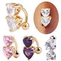 AU_ Jewelry Rhinestone Navel Rings Belly Button Bar Ring Dangle Body Piercing Su