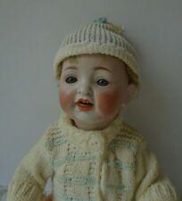 """Antique 12"""" HERTEL SCHWAB #152 Bent Leg Baby Doll Sleep Eyes Mohair Wig Dressed"""