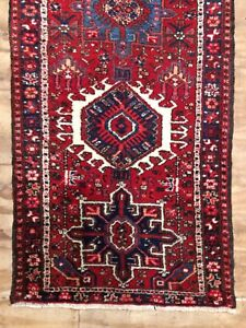 Antique Used Old Handmade Wool Rug Runner Shabby Chic,Size:11.5 by 2.10 Ft