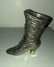 RIGHT LADIES BOOT MINIATURE HEAVY SILVER PLATE METAL