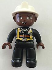 NEW Lego DUPLO Male FIREMAN Black Legs WHITE Helmet BLACK Top BROWN Head