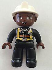 NEW Lego DUPLO Male FIREMAN Black Legs WHITE Helmet BLACK Top BROWN Head