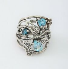 OR PAZ 925 Sterling Silver Blue & London Blue Topaz Ring, Made in Israel