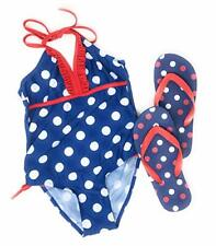 JumpN Splash Girls Blue Polka Dots One-piece w/Flip-Flops(7/8)