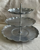 Vintage 1950's 3-Tier Serving Tray Cake Stand Aluminum By Gailstyn Hammered