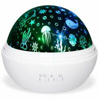 1X(Star Projector Light,Night Lamp Romantic Rotating Sea Animals Star Moon P7B7