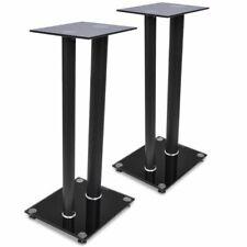 Glass Speaker Stand With 2 Pillars (2 Pcs) - Black