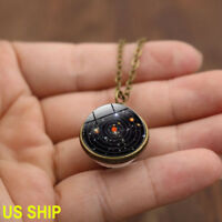 US! Blue Planet Double Sided Solar System Galaxy S Necklace Pendant Glass Globe