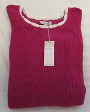 LADIES MARKS AND SPENCER PINK RIBBED CHUNKY KNIT JUMPER WITH WHITE TRIM SIZE 20