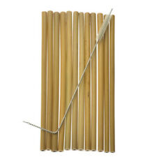 10x Bamboo Drinking Straws Reusable Eco-Friendly Party Kitchen + Clean Brush Kit
