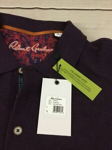 Robert Graham Aherne L/S Knit Polo NWT Men's Large Heather Purple