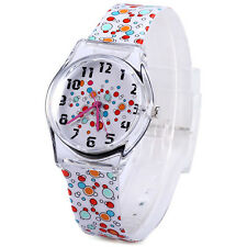 Fashion Women Geneva Silicone Rubber Colorful Quartz Analog Sports Wrist Watch