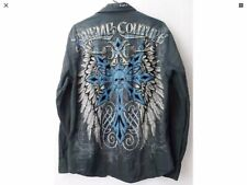 Extreme Couture by Affliction Shirt Men's L Black White Blue Graphics Front Back