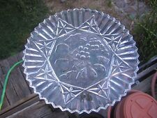 Vintage Very Nice 11 Inch Clear Glass Embossed Fruits Dish Fluted Saw tooth