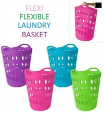 Flexible Flexi Laundry Washing Basket With Handles Clothes Storage Bin Hamper