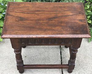 Vintage Old Charm Style Heavy Oak Side Table Turned Legs
